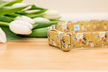Load image into Gallery viewer, Mustard Yellow Floral Customizable Dog Collar