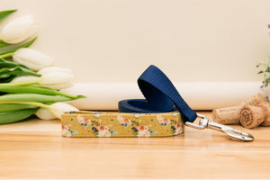 Mustard Yellow Floral Customizable Dog Collar