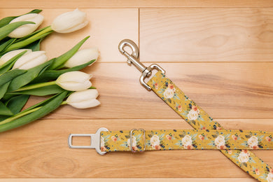Mustard Yellow Floral Dog Seatbelt