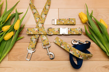 Load image into Gallery viewer, Mustard Yellow Floral Dog Seatbelt