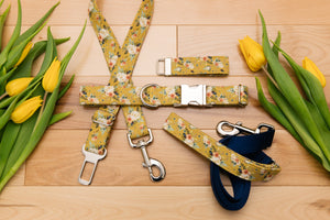 Mustard Floral Customizable Matching Dog Leash