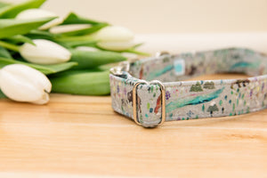 Aurora Borealis Dog Collar with Northern Lights, Foxes and Bison