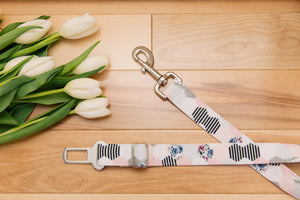 Pastel Hexagon, Floral and Striped Dog Seatbelt