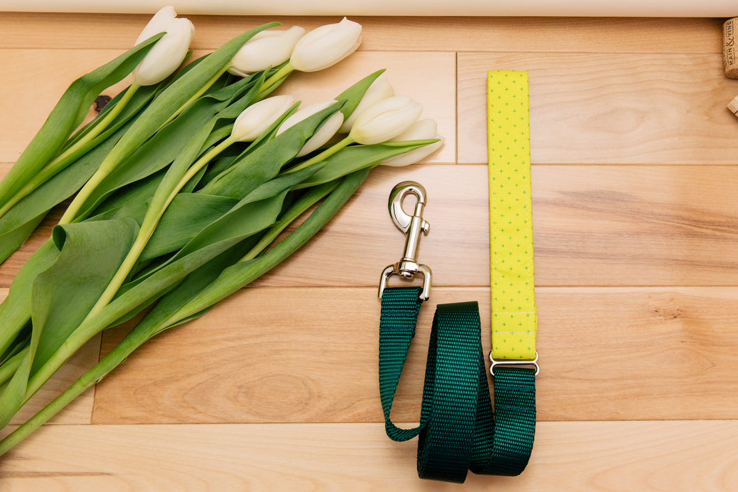 Neon Yellow-Green Geometric Matching Dog Leash
