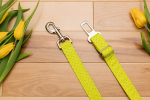 Neon Yellow-Green Geometric Dog Seatbelt