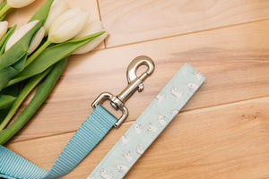 Pastel Blue Unicorn, Narwhal and Bunny Customizable Matching Dog Leash