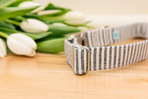 Blue-Grey Striped Linen Customizable Dog Collar