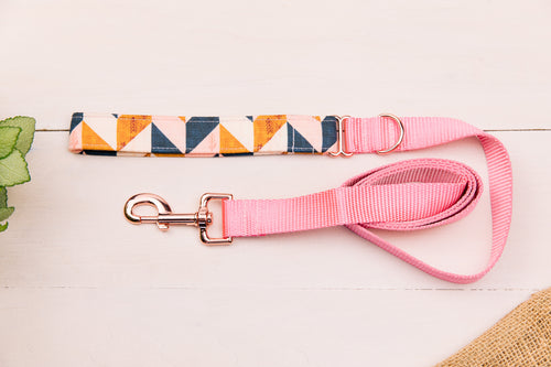 Pink, Navy and Tan Herringbone Matching Dog Leash