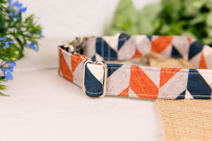 Grey, Tan and Navy Herringbone Dog Collar