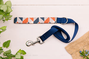 Grey, Tan and Navy Herringbone Matching Dog Leash
