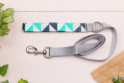 Pastel Blue and Navy Herringbone Matching Dog Leash