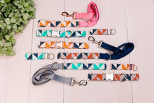 Load image into Gallery viewer, Grey, Tan and Navy Herringbone Matching Dog Leash