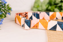 Load image into Gallery viewer, Pink, Navy and Tan Herringbone Dog Collar