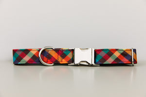 Autumn Plaid Water Resistant Dog Collar