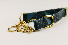 Load image into Gallery viewer, Charcoal and Gold Geometric Dog Collar