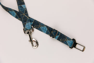 Charcoal Geometric Dog Seatbelt