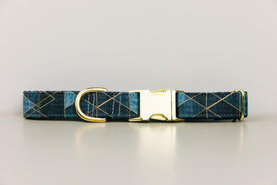 Charcoal and Gold Geometric Dog Collar