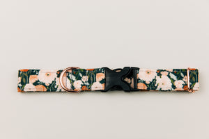 Charcoal Autumn Floral Water Resistant Dog Collar