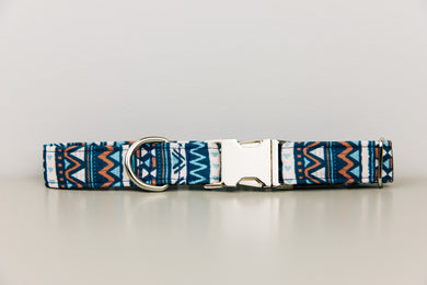 Navy Blue Aztec Water Resistant Dog Collar