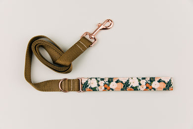Charcoal Autumn Floral Matching Dog Leash