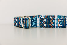 Load image into Gallery viewer, Navy Blue Aztec Water Resistant Dog Collar