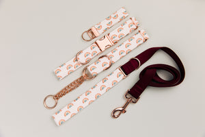 Rose Gold Rainbows Dog Collar