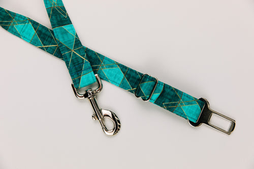 Teal Geometric Dog Seatbelt