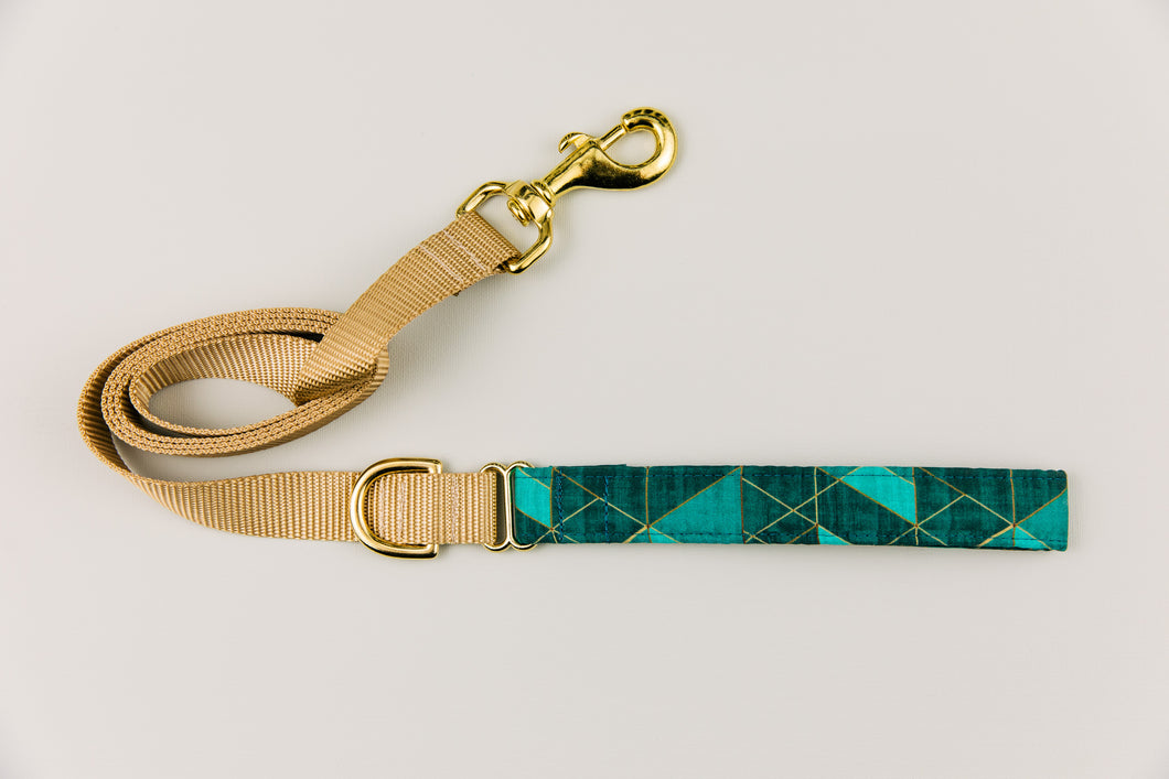 Teal Green Geometric Matching Dog Leash