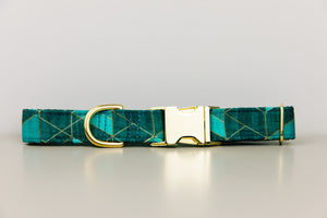 Teal Green Geometric Dog Collar