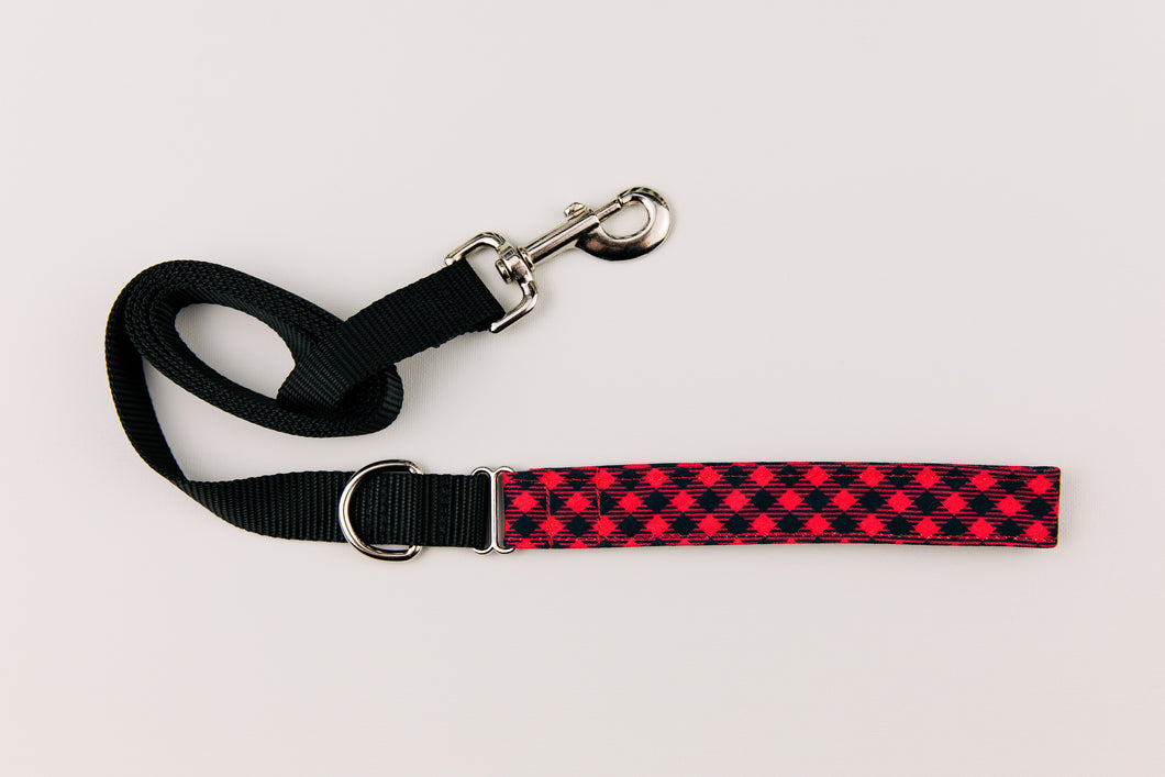 Red and Black Buffalo Plaid Matching Dog Leash