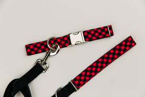 Red and Black Buffalo Plaid Water Resistant Dog Collar