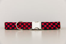 Load image into Gallery viewer, Red and Black Buffalo Plaid Water Resistant Dog Collar