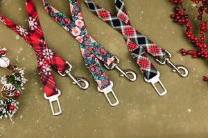 Black and Red Christmas Plaid Dog Seatbelt