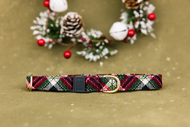Black and Red Winter Plaid Breakaway Cat Collar