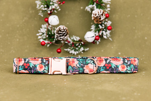 Winterberry Blossom Floral Dog Collar