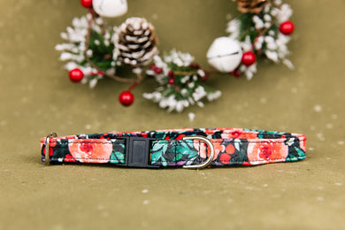 Winter Berry Floral Breakaway Cat Collar
