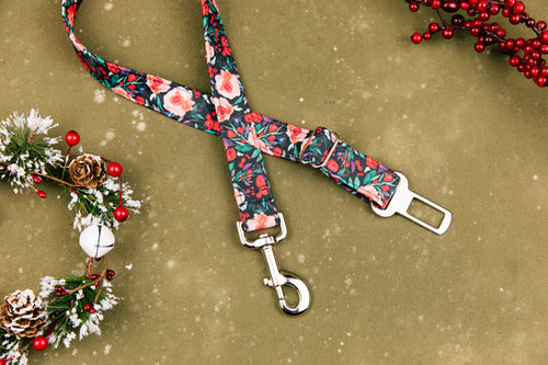 Winter Berry Floral Dog Seatbelt