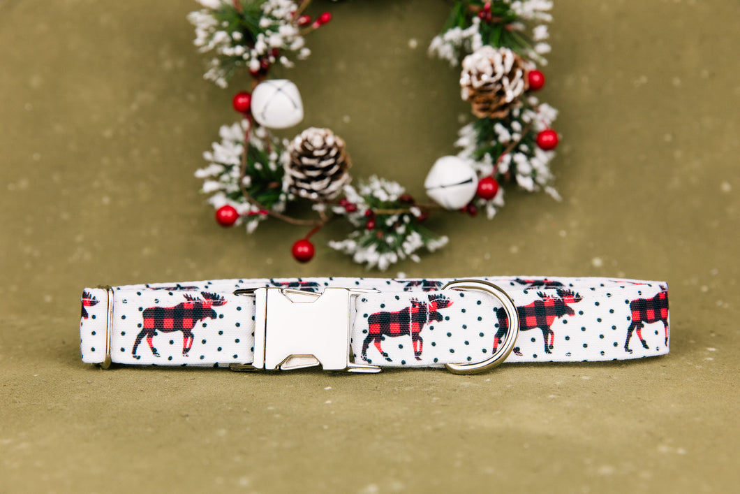 Water Resistant Moose Crossing Buffalo Plaid Dog Collar