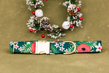 Load image into Gallery viewer, Water Resistant Green Floral Dog Collar