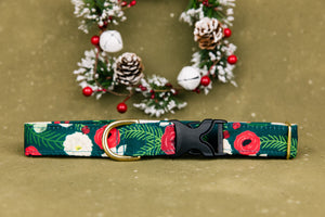 Water Resistant Green Floral Dog Collar