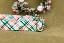 Load image into Gallery viewer, Water Resistant Christmas Mint Plaid Dog Collar