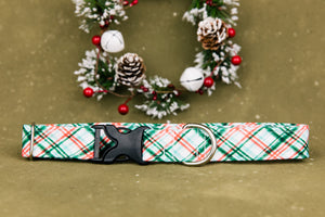Water Resistant Christmas Mint Plaid Dog Collar