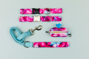 Fuchsia Tie Dye Water Resistant Dog Collar