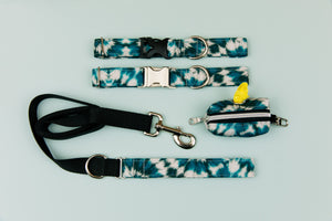 Teal Tie Dye Water Resistant Dog Collar
