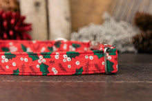 Load image into Gallery viewer, Red Holly Winter Dog Collar