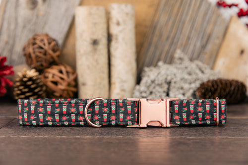 Coffee and Floral Winter Dog Collar