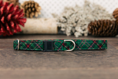 Green Plaid Cat Collar