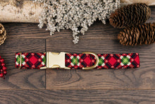 Load image into Gallery viewer, Red and Green Plaid Dog Collar