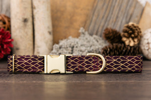 Burgundy and Gold Geometric Dog Collar