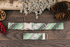 Green Nordic Striped Dog Collar